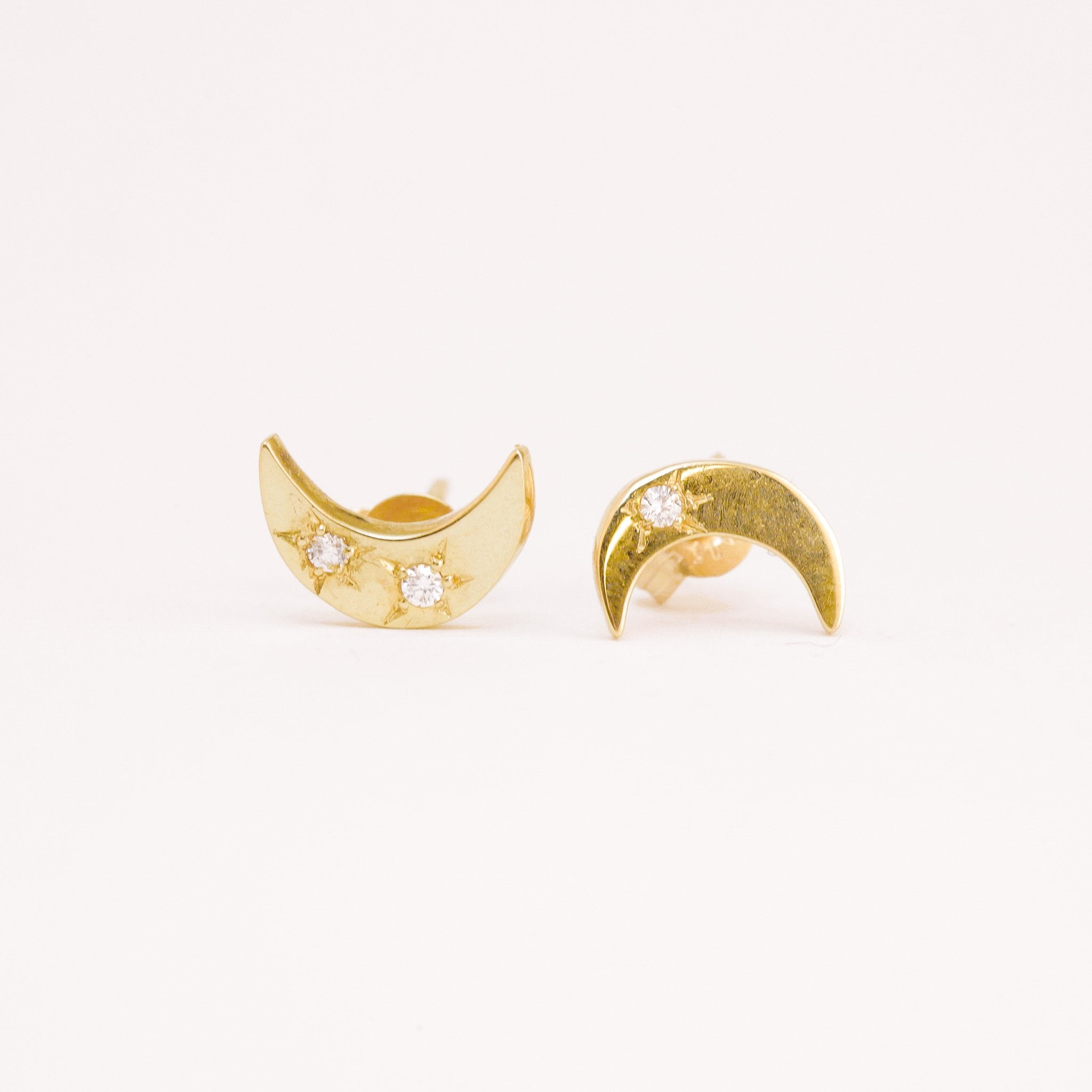 Handmade 9ct Yellow Gold Moon Studs with 3 Diamonds, Hand Made Jewellery, Made in Melbourne