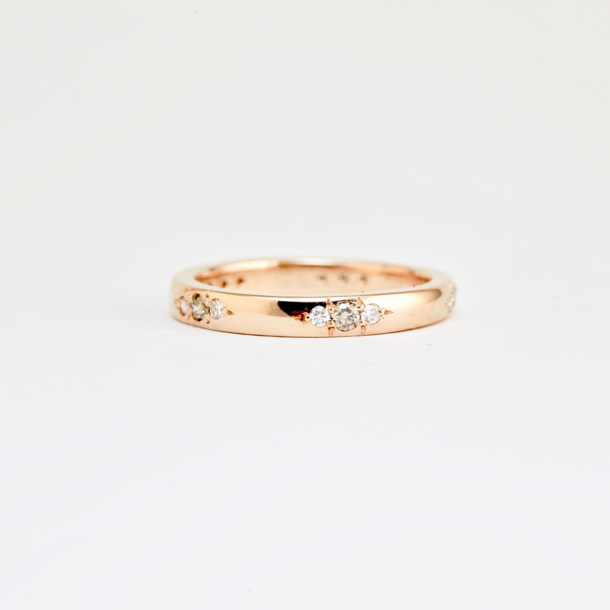 Champagne and white Diamond 18ct rose gold wedding band, Custom Bespoke Handmade.