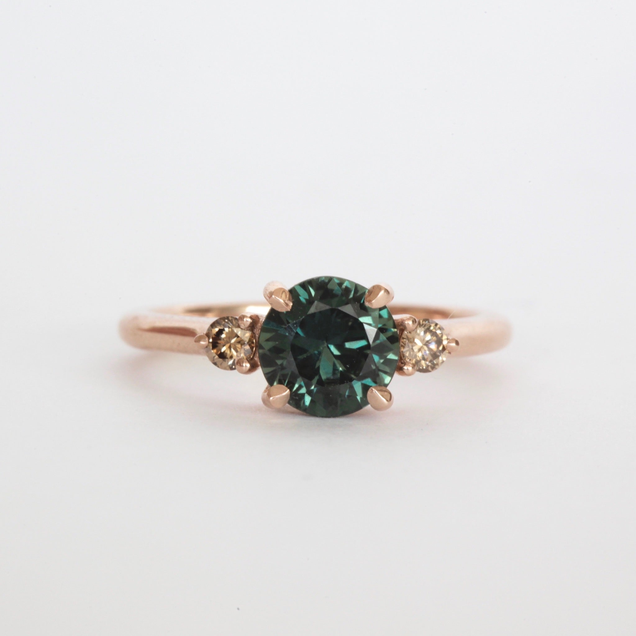 Australian Green Sapphire and Cognac Diamond Engagement Ring in 18ct Rose Gold, Custom bespoke handmade jewellery