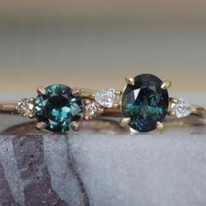 Australian Green Sapphire and Cognac Diamond Engagement Ring in 18ct Rose Gold
