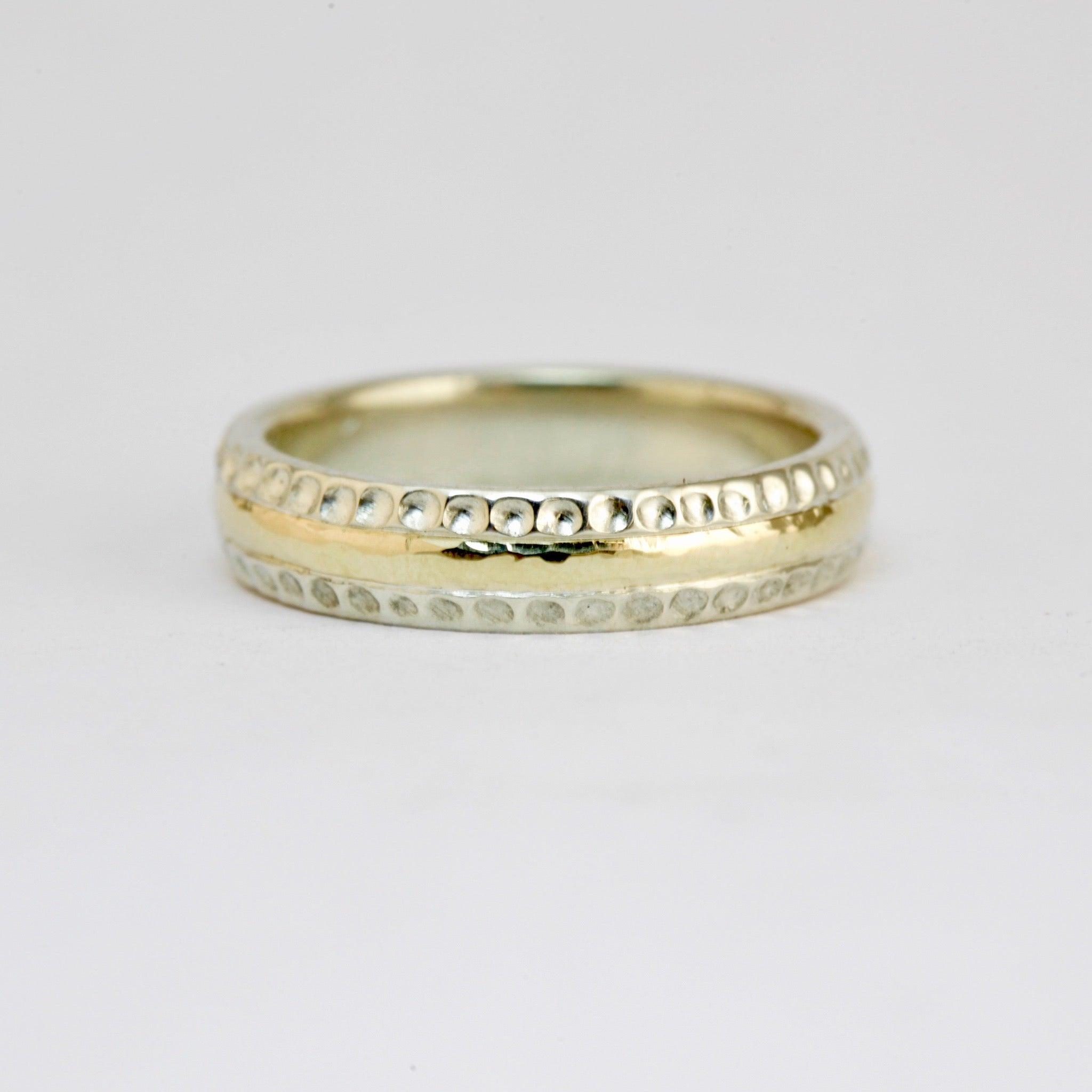 Handmade Yellow and White Gold Wedding Band.