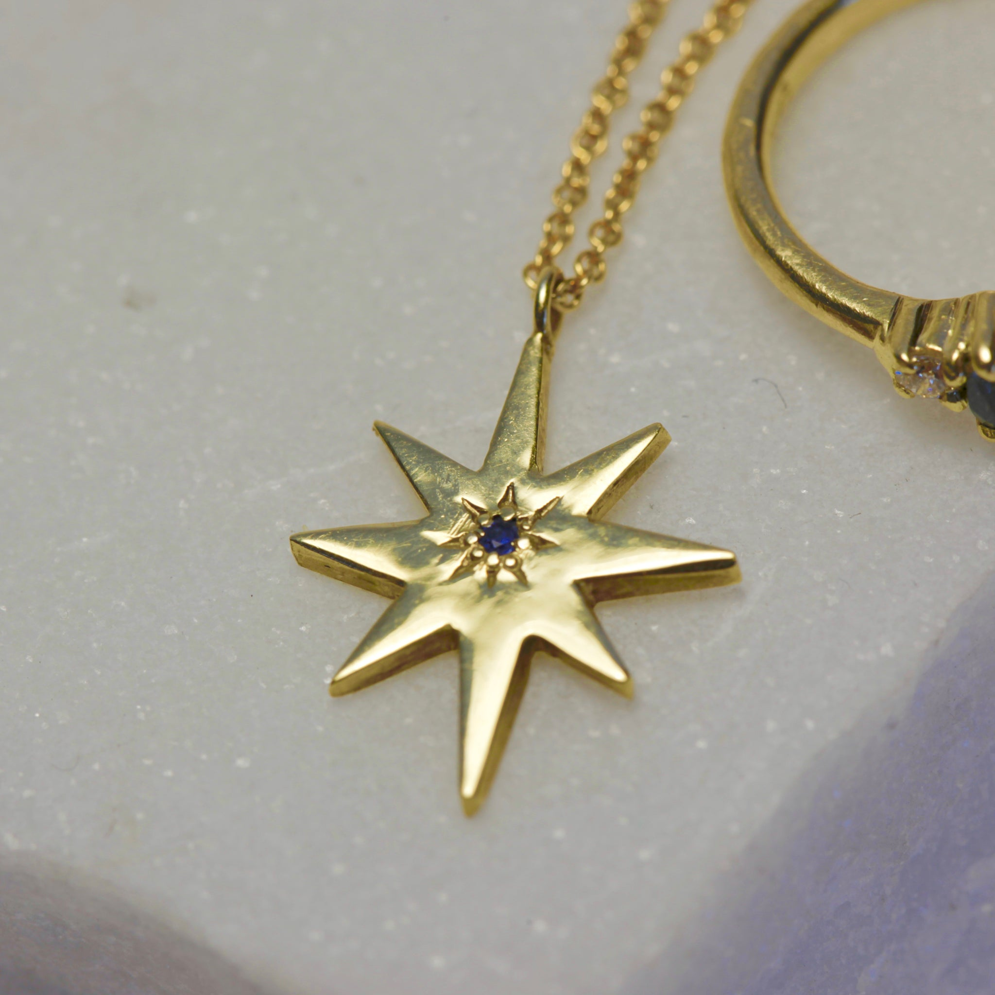 9ct gold star pendant with sapphire on gold chain, Custom Bespoke Handmade.