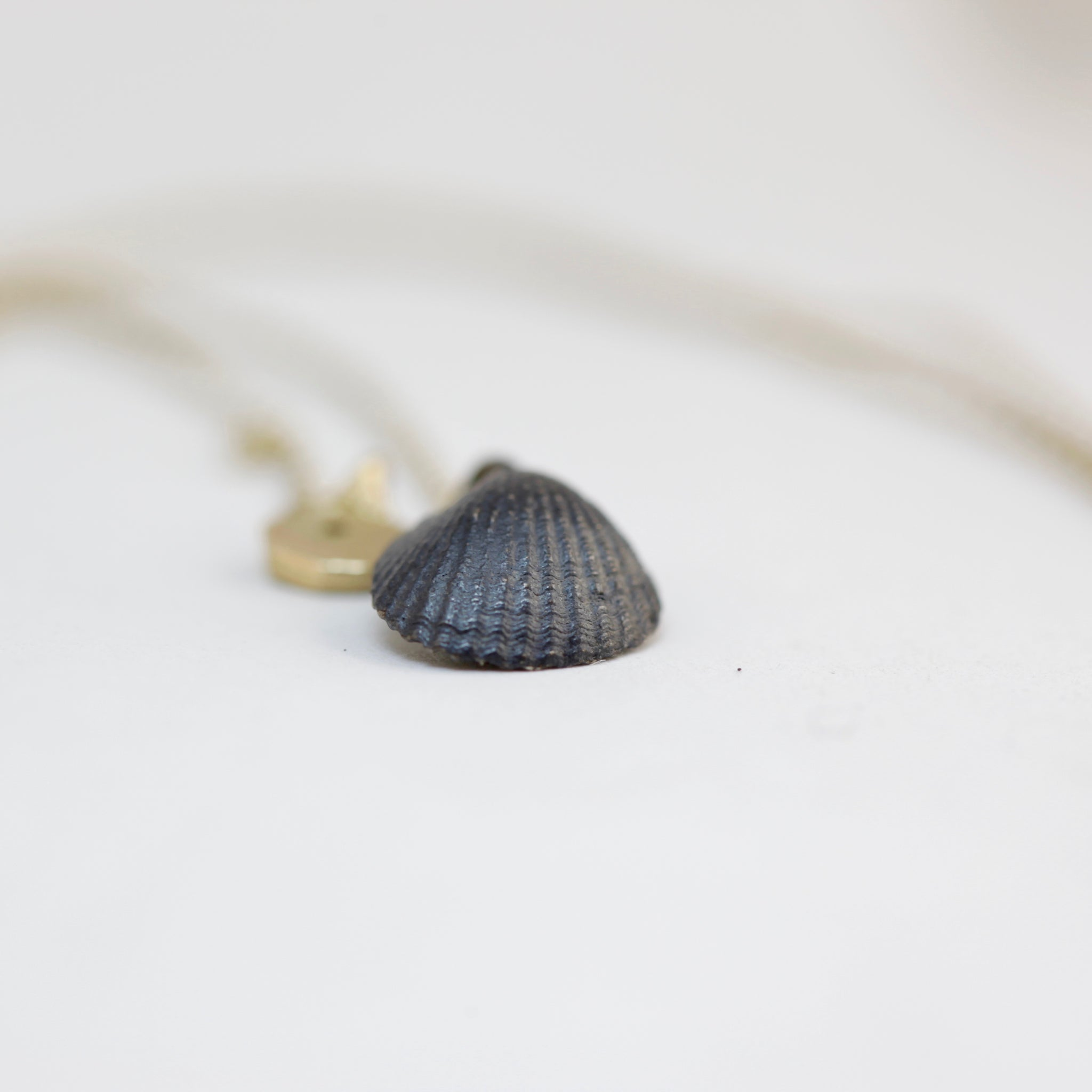 Midnight Siren Pendant, oxidised black shell with pearl, 9ct gold charm with ruby on 9ct gold chain, Custom Bespoke Handmade