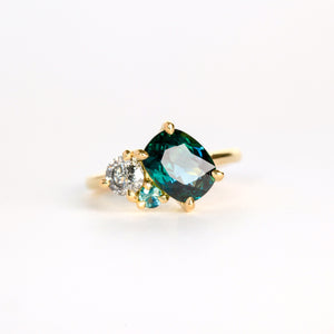 Handmade Cushion Cut Sapphire and Salt and Pepper Diamond Ring in 18ct Yellow Gold, Custom, Bespoke