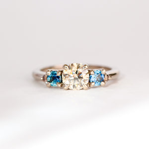 Handmade Diamond and Ethically Sourced Australian Sapphire Ring in 18ct White Gold, Custom, Bespoke
