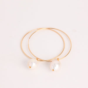baroque pearls on gold fill hoops, bespoke custom handmade