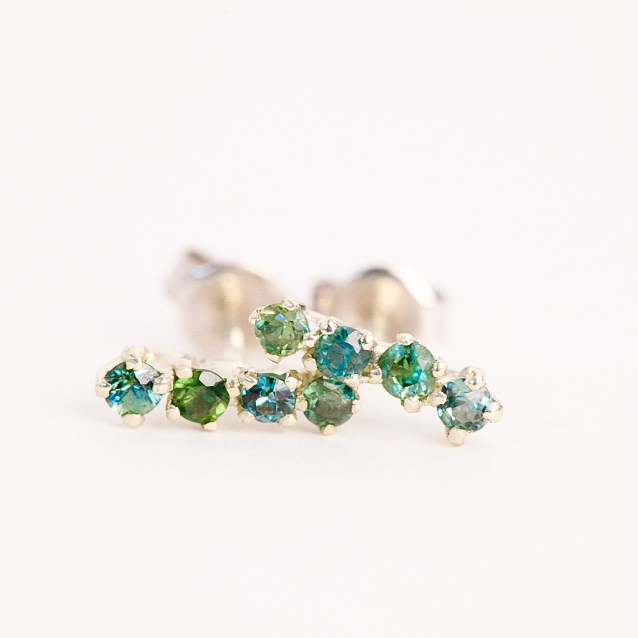 Handmade 9ct White Gold Stud Earrings Ethically Sourced Australian Sapphires, Hand Made Jewellery, Made in Melbourne