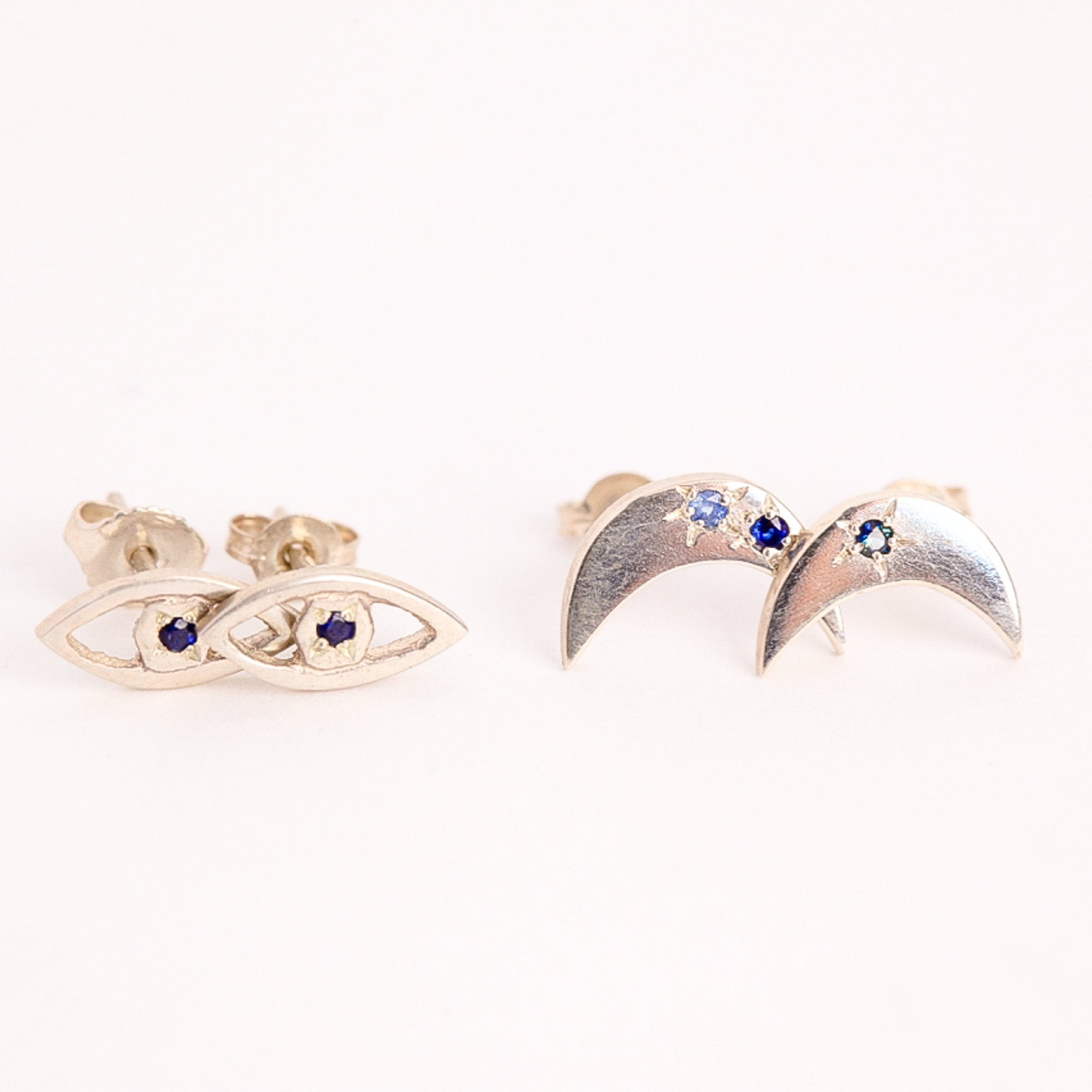Handmade Textured Sterling Silver Eye Studs with Ethically Sourced Australian Sapphires, Hand Made Jewellery, Made in Melbourne