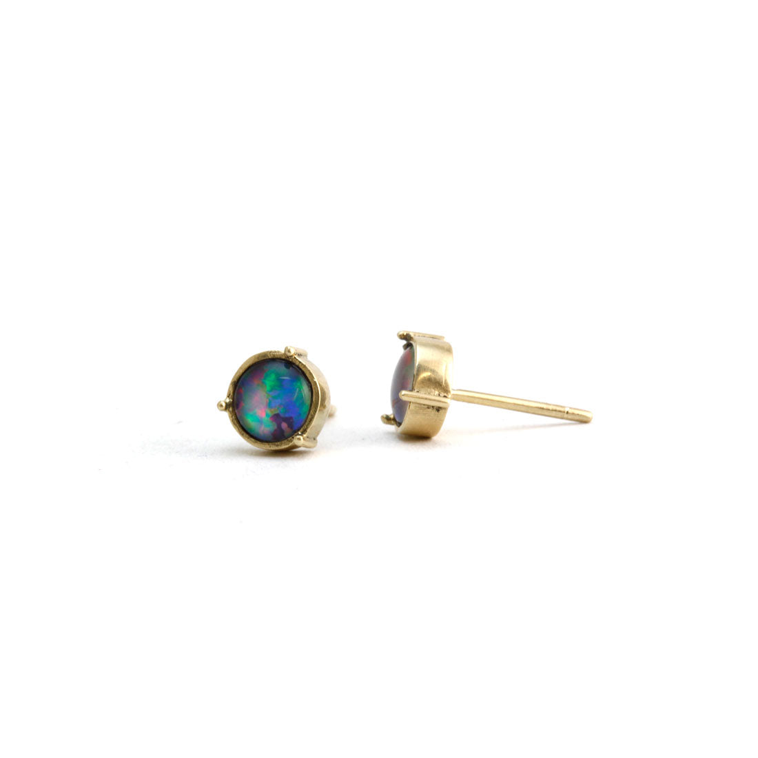 opal stud earrings in 9ct gold, Custom Bespoke Handmade.