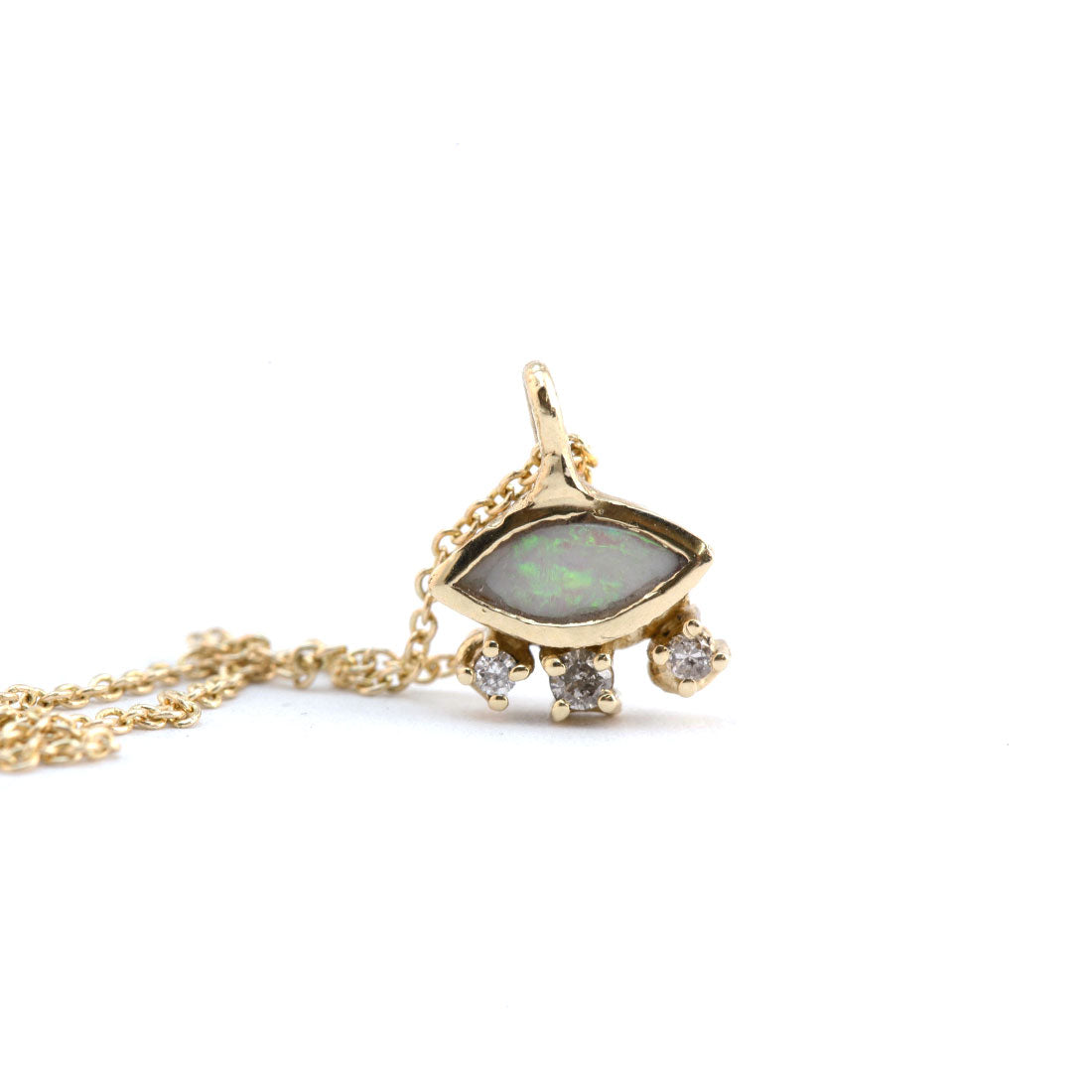 Marquis cut opal pendant in gold with diamonds on 9ct yellow gold chain, Custom bespoke handmade necklace.