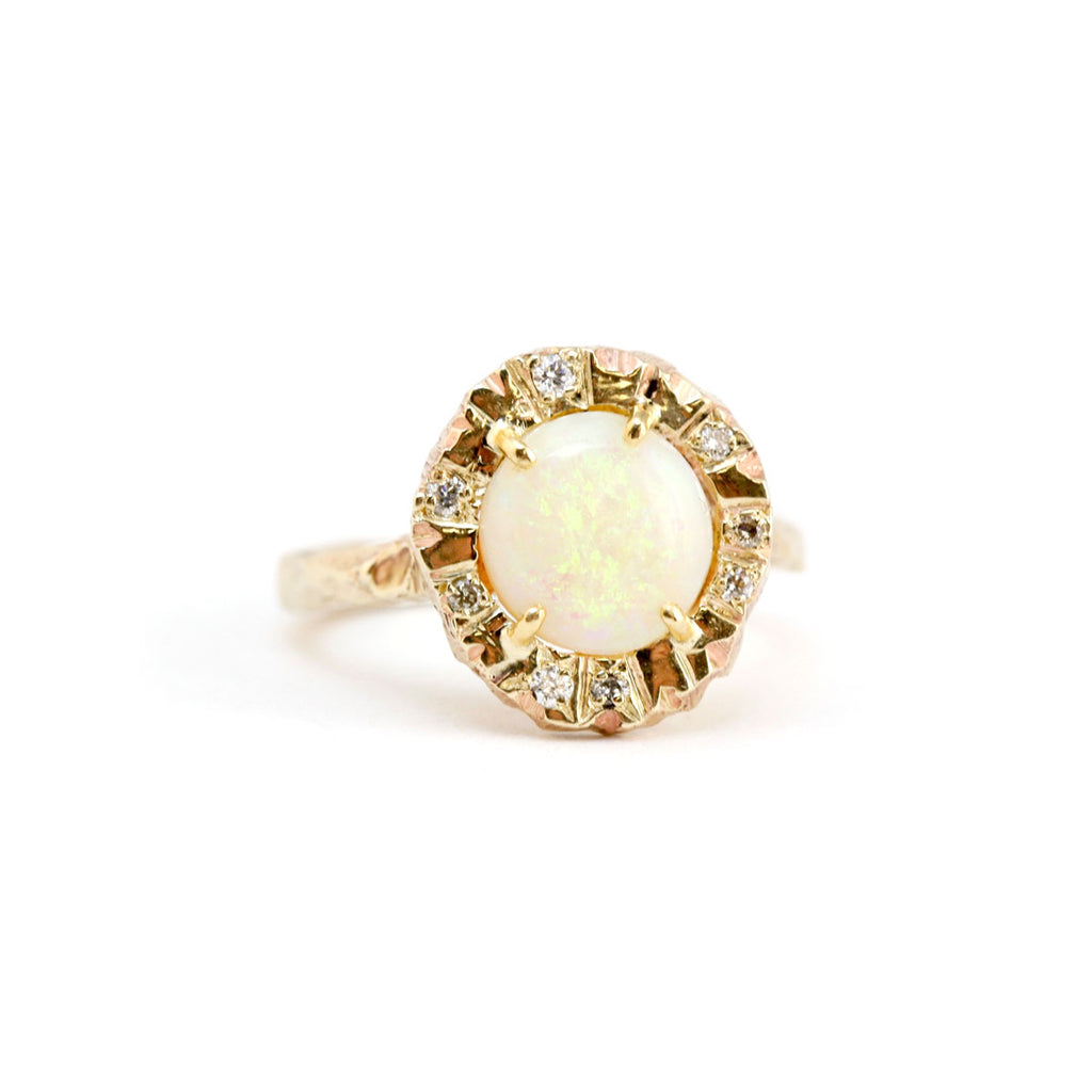 Australian white opal ring with Australian diamonds