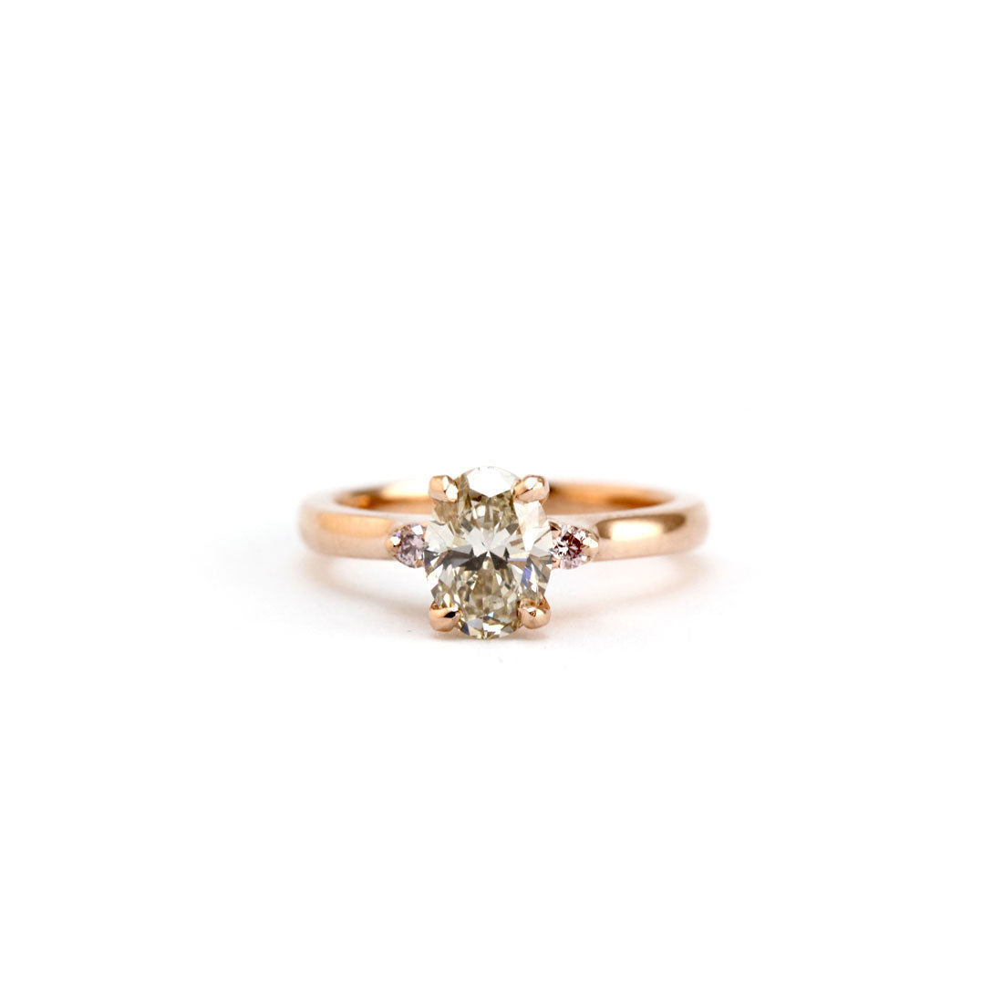Oval Champagne diamond engagement ring with pink argyle diamonds in 18ct rose gold Bespoke Custom Handmade Jewellery