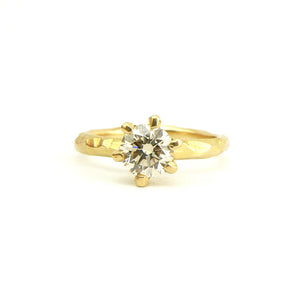 champagne diamond carved solitaire engagement ring in 18ct yellow gold, bespoke custom handmade.
