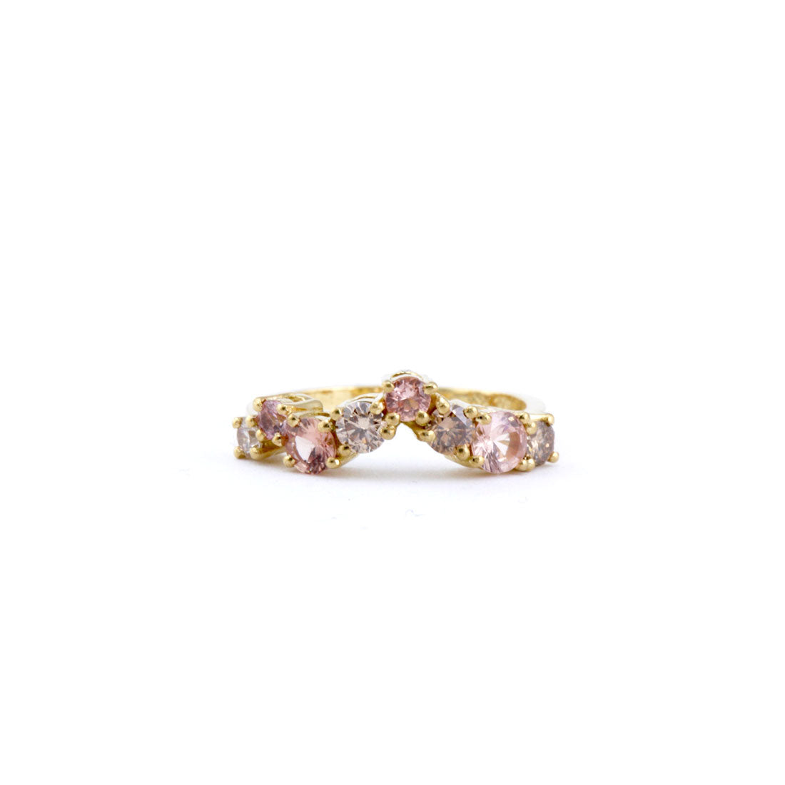 Pink and champagne diamond wedding band