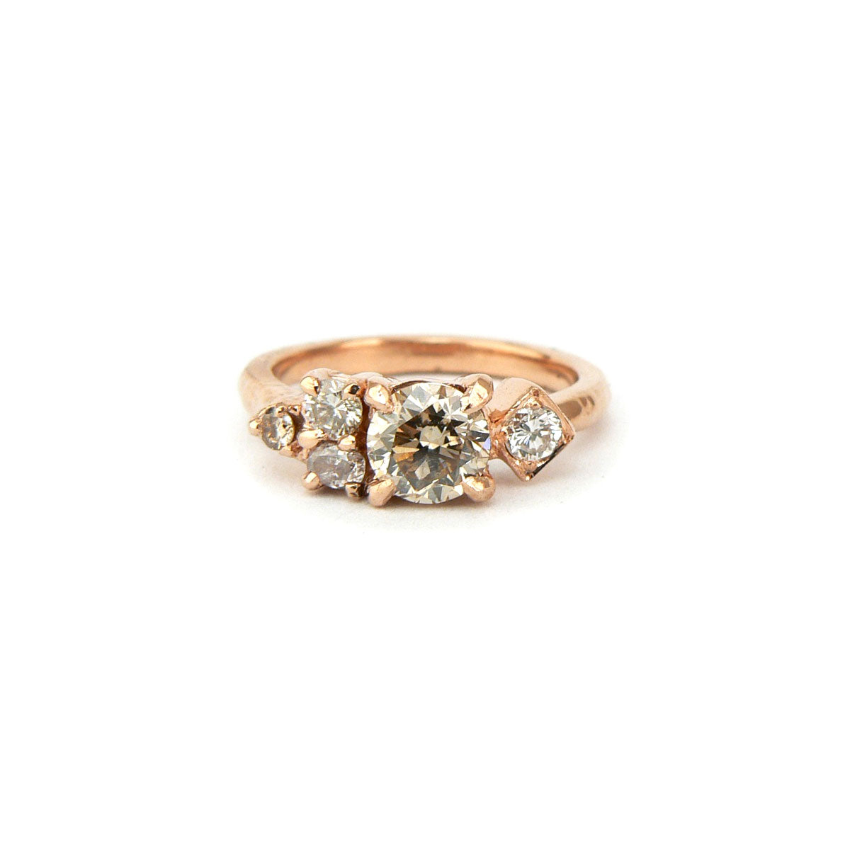 Champagne diamond cluster engagement ring