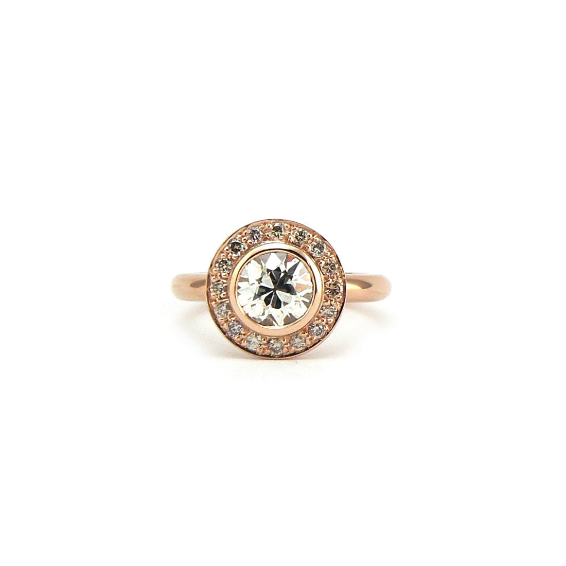 Engagement ring large white diamond surrounded by small diamonds on a 18ct rose gold band, Custom bespoke handmade.