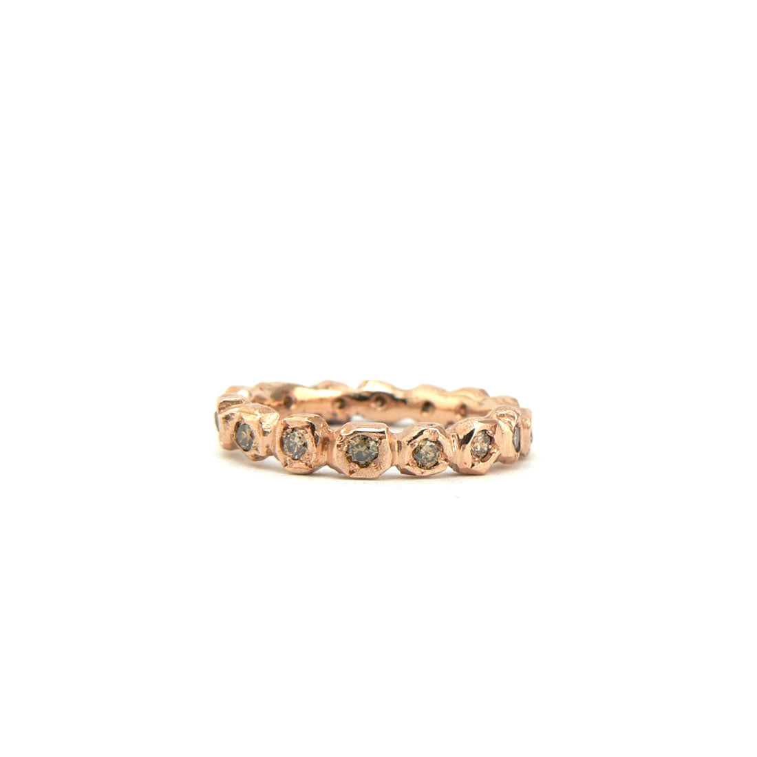 18ct rose gold and champagne diamond eternity engagement wedding ring, custom bespoke handmade.