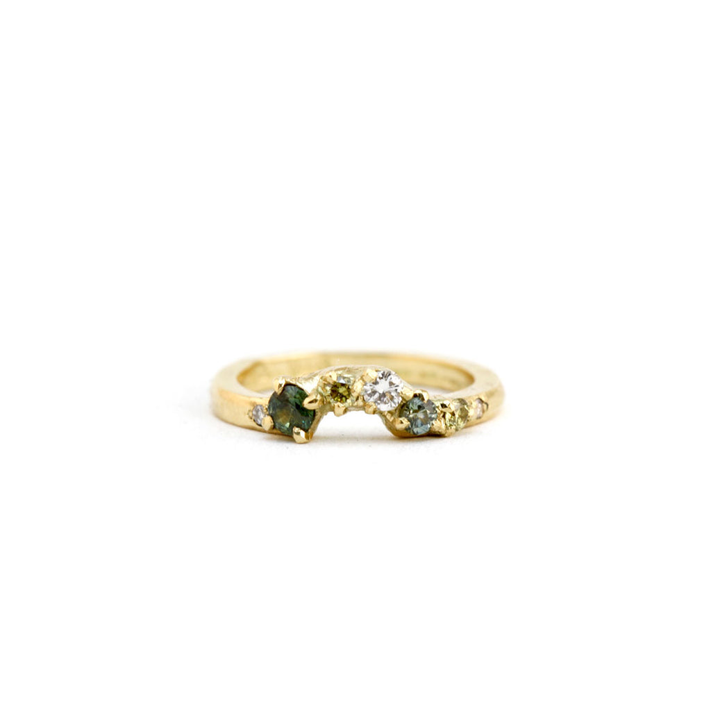 Mixed wedding band of yellow and green sapphires with white diamonds