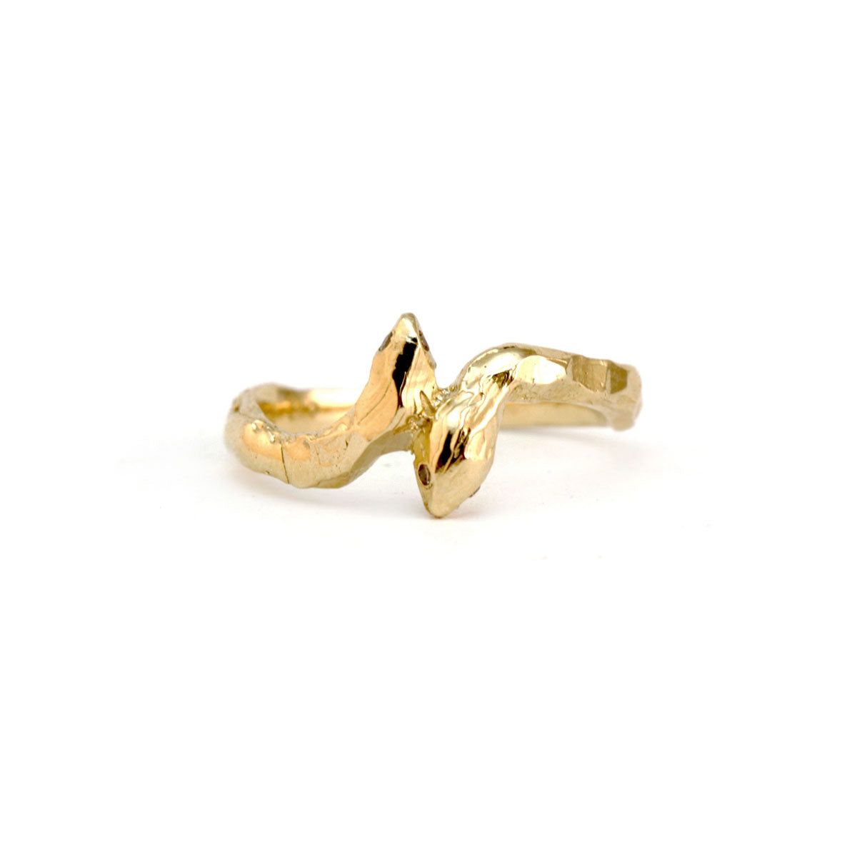 Gold snake ring organic finish cognac diamond eyes