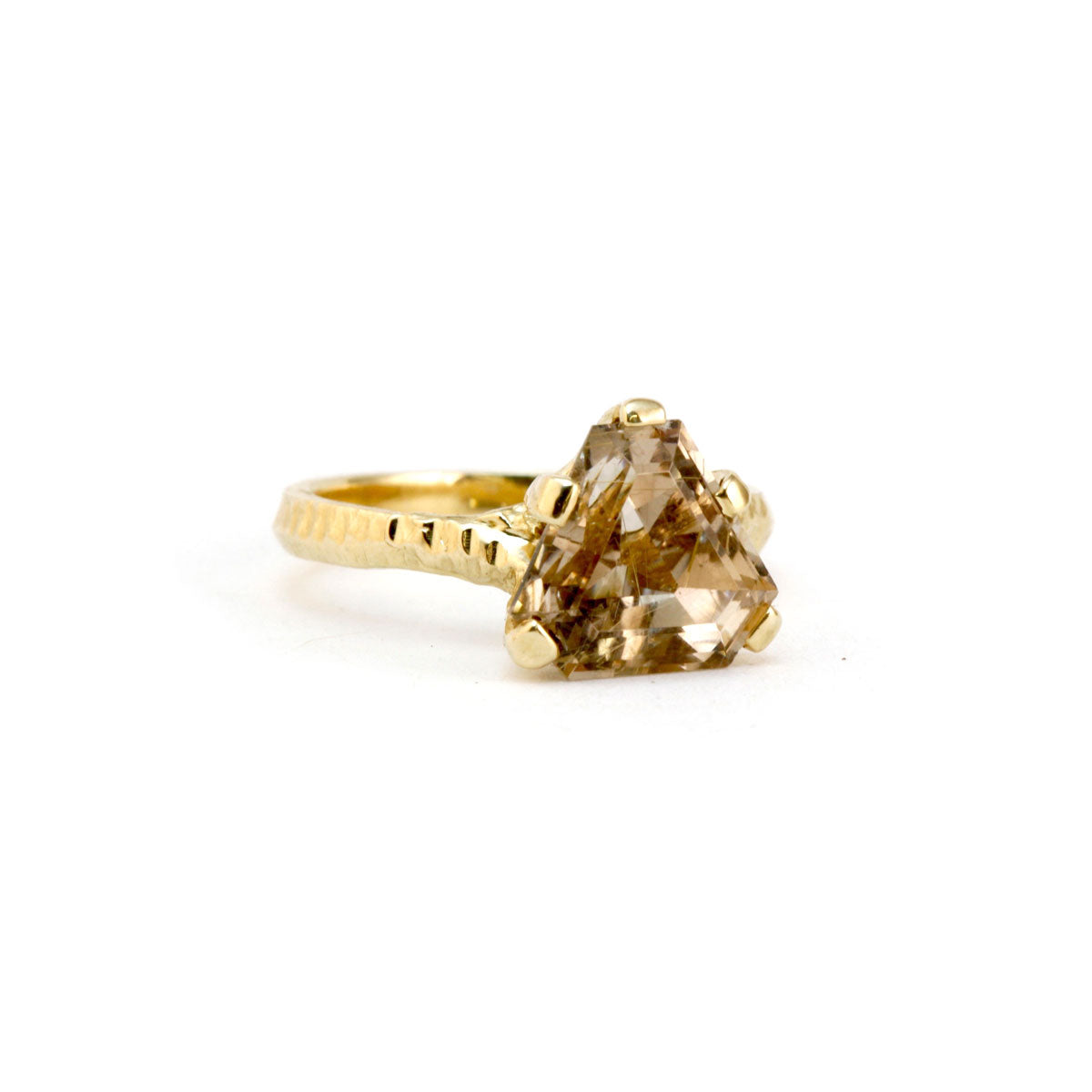 9ct gold textured ring with trilliant cut rootilated quartz
