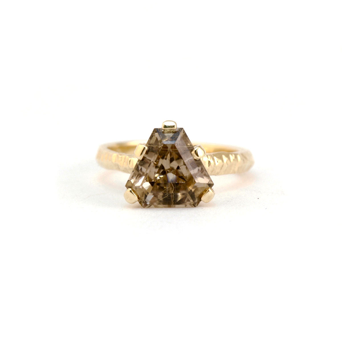 9ct gold textured ring with trilliant cut rootilated quartz engagement ring Custom Bespoke Handmade jewellery