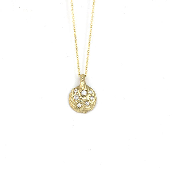 9ct yellow gold cuttlefish pendant with diamonds on 9ct gold chain, Bespoke Custom Handmade jewellery
