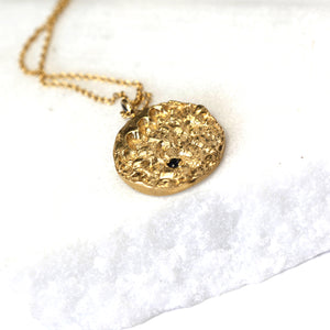 Gold textured pendant with sapphire on gold chain, Custom bespoke handmade jewellery.