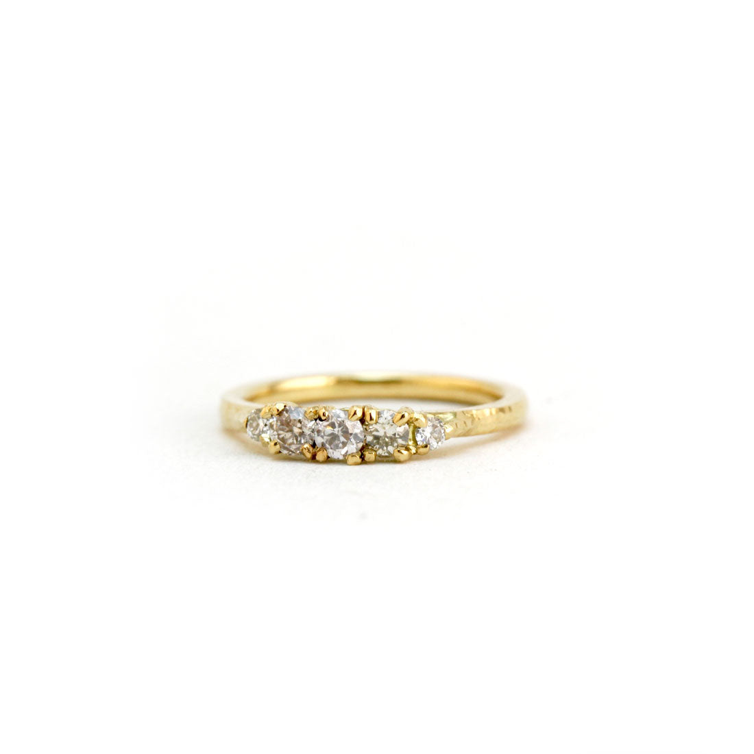 Fine champagne diamond wedding cluster ring