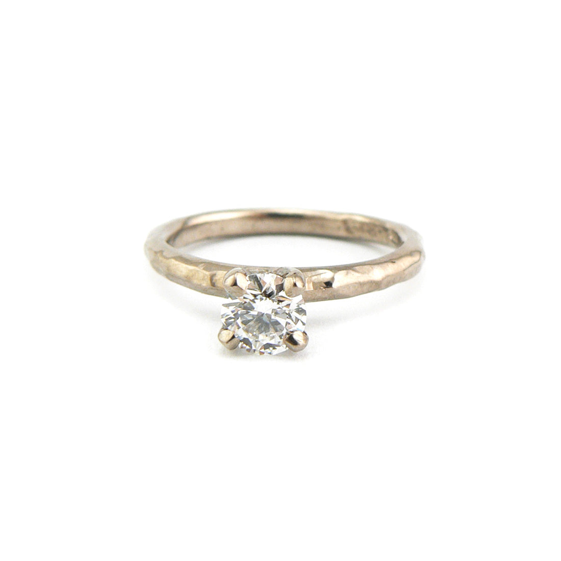 Organic finish white diamond solitaire ring