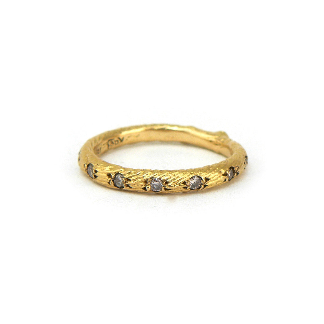 Organic finish textured women's wedding ring 18ct gold with diamonds, Custom bespoke handmade.