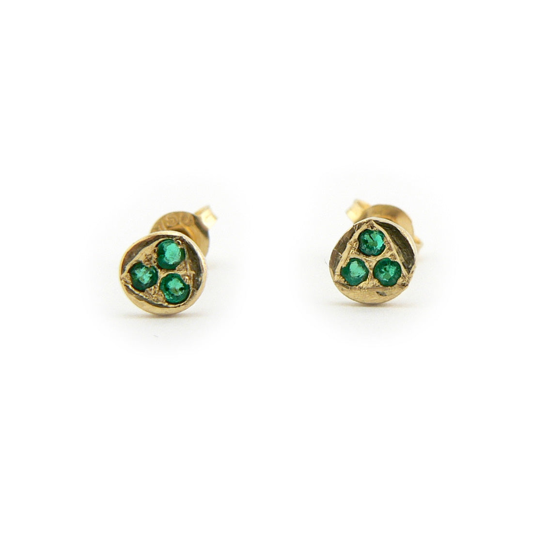 tsavorite garnet stud earrings in 19ct yellow gold, bespoke custom handmade