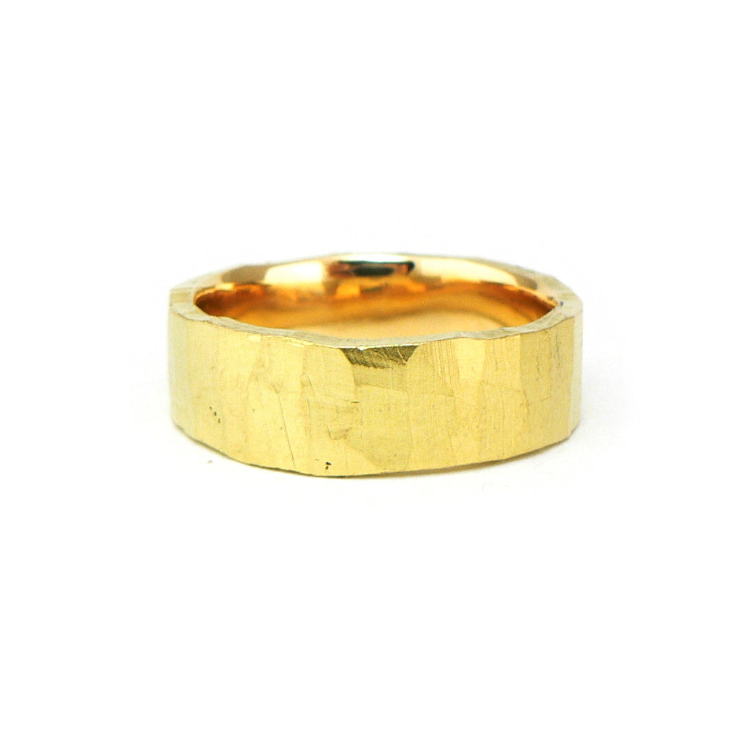 Mens wedding band yellow gold with organic finish