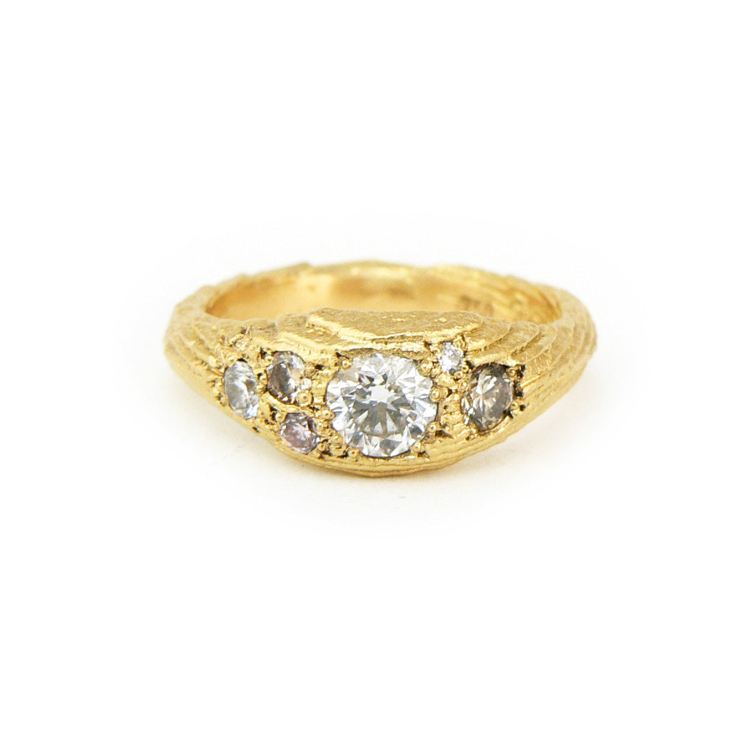 White, champagne and pink diamonds in cuttlefish cast ring in 18ct yellow gold, Custom bespoke handmade engagement ring.