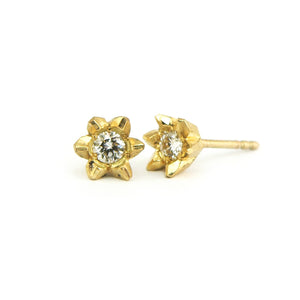large white diamond in 18ct yellow gold stud earrings, Custom bespoke handmade jewellery.