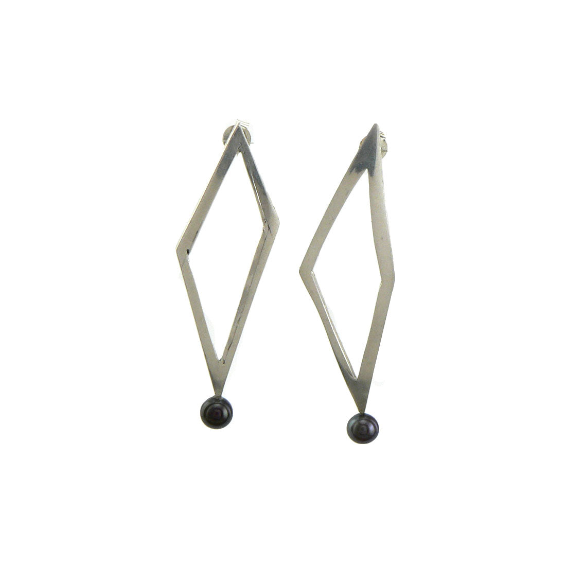 Silver and black pearl geometric earrings