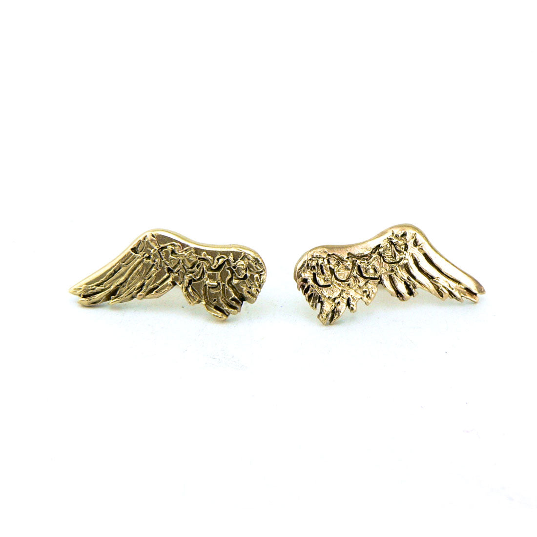 wing earrings in 9ct yellow gold, bespoke custom handmade