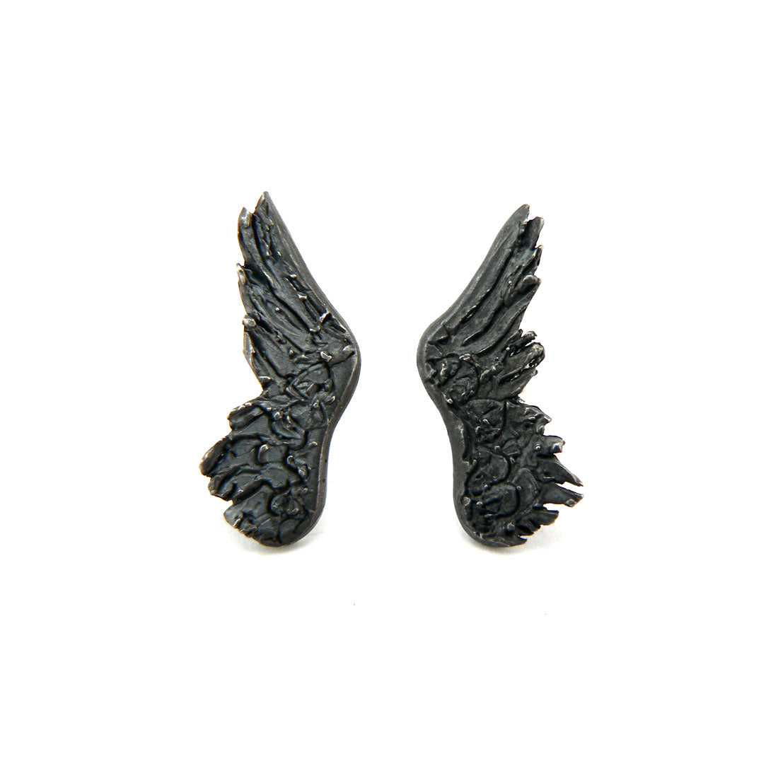 wing earrings in oxidised sterling silver