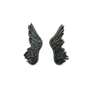 wing earrings in oxidised sterling silver, bespoke custom handmade