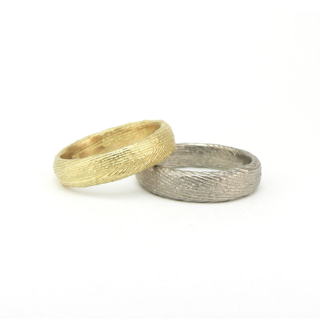 Cuttlefish cast textured wedding band white and yellow gold