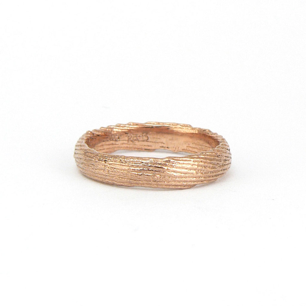 Cuttlefish cast textured wedding band rose gold