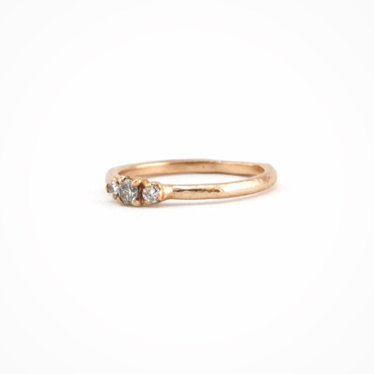 fine diamond engagement ring 18ct rose gold with three white diamonds, Custom Bespoke Handmade