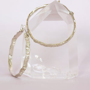 Textured 9ct white gold hoop earrings, custom bespoke handmade