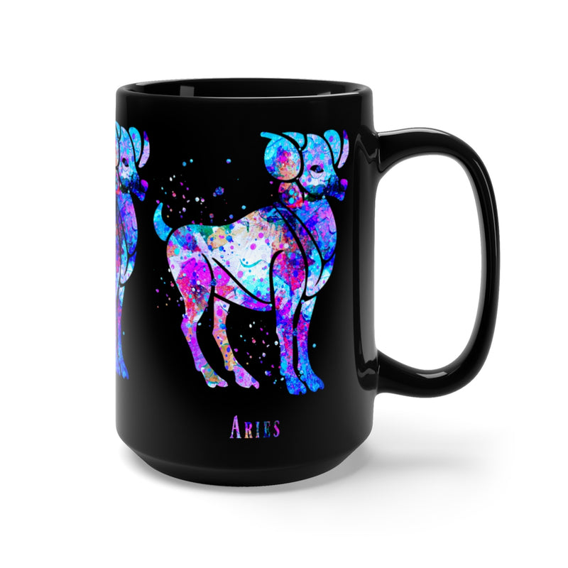Aries Zodiac Sign Black Mug 15oz - Zuzi's