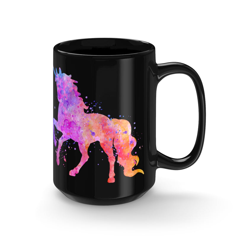 Watercolor Unicorn Black Mug 15oz - Zuzi's