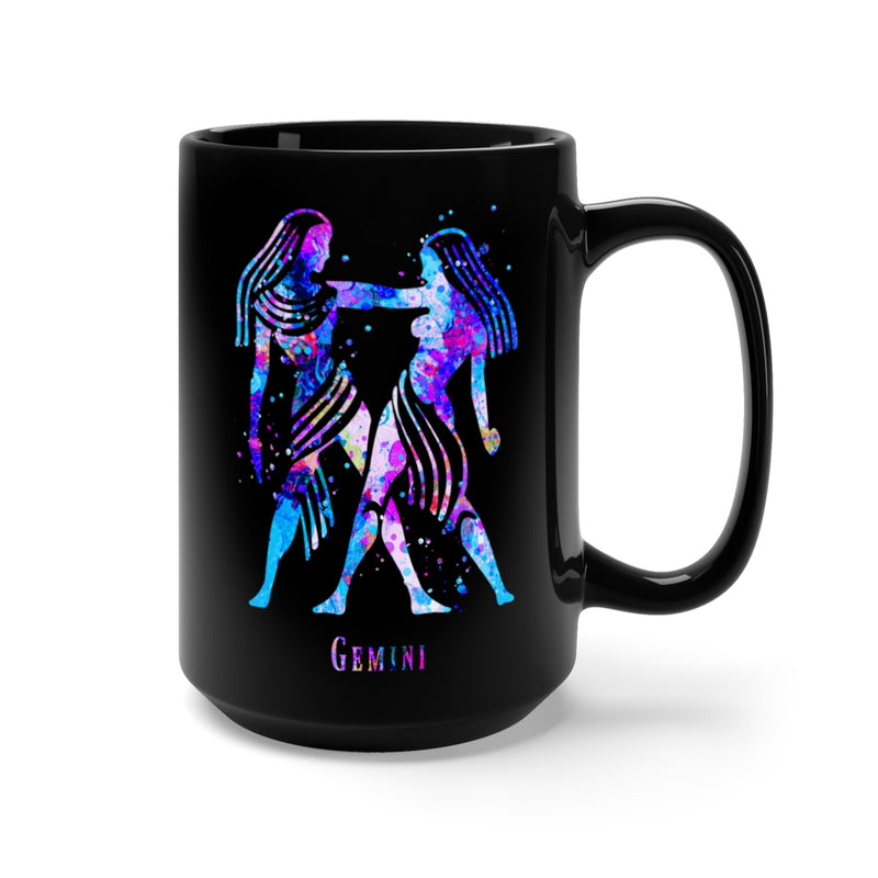 Gemini Zodiac Sign Black Mug 15oz - Zuzi's