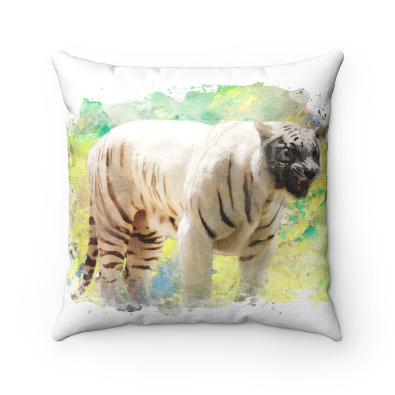 White Tiger Square Pillow - Zuzi's