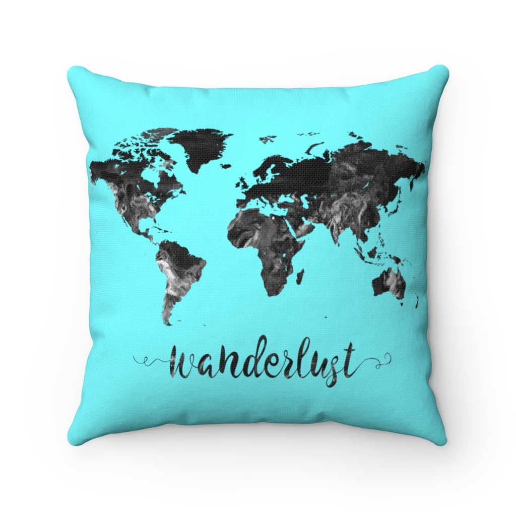 Wanderlust World Map Art Square Pillow - Zuzi's