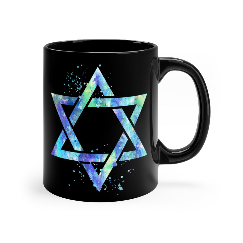 Star Of David Black Mug 11oz - Zuzi's
