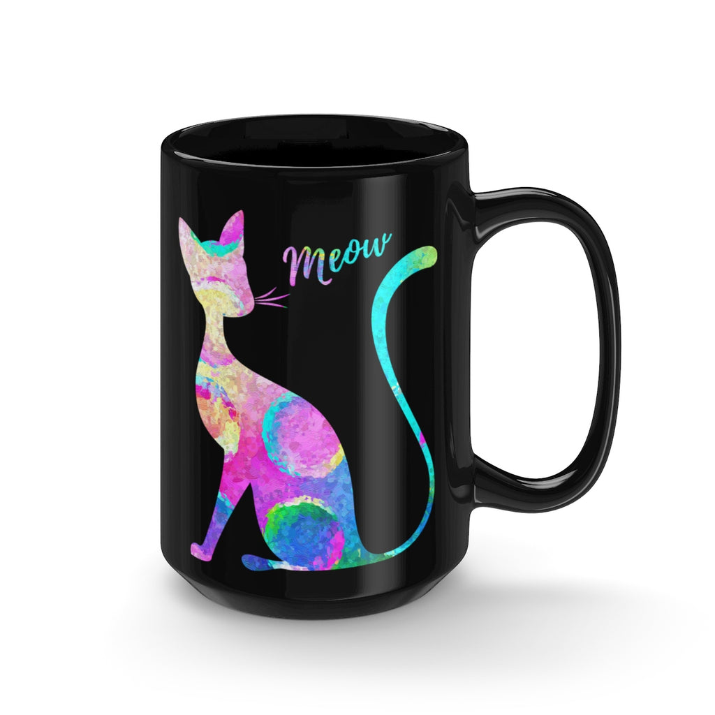 Abstract Cat Black Mug 15oz - Zuzi's