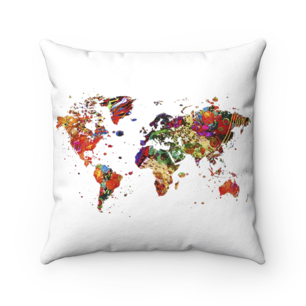 World Map Art Square Pillow Cover